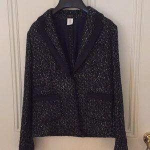 J.Crew wool tweed jacket w/ grosgrain ribbon trim